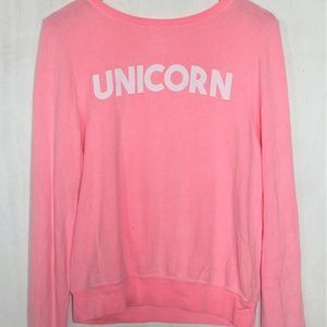New Wildfox 'Unicorn' Baggy Beach Jumper Neon Pink